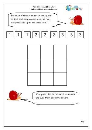 Preview of worksheet Addition: magic squares