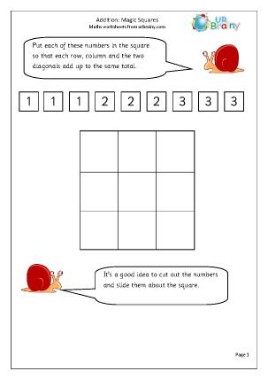 math worksheet : addition magic squares addition maths worksheets for year 2 age 6 7  : Math Magic Squares Worksheets