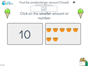 Preview of game Finding the smaller/larger amount (Timed)