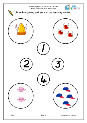 Preview of worksheet Matching sets to numbers: hats