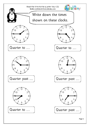 Preview of worksheet Time to the quarter hour (1)