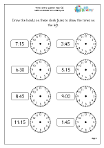 time to the quarter hour 2 time maths worksheets for year 2 age 6 7. Black Bedroom Furniture Sets. Home Design Ideas