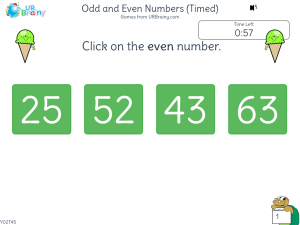 Preview of game Odd and even numbers (Timed)