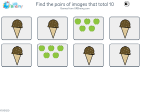 Preview of game Find the pairs of images that total 10