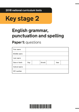 Preview of worksheet 2018 KS2 English Grammar Paper 1