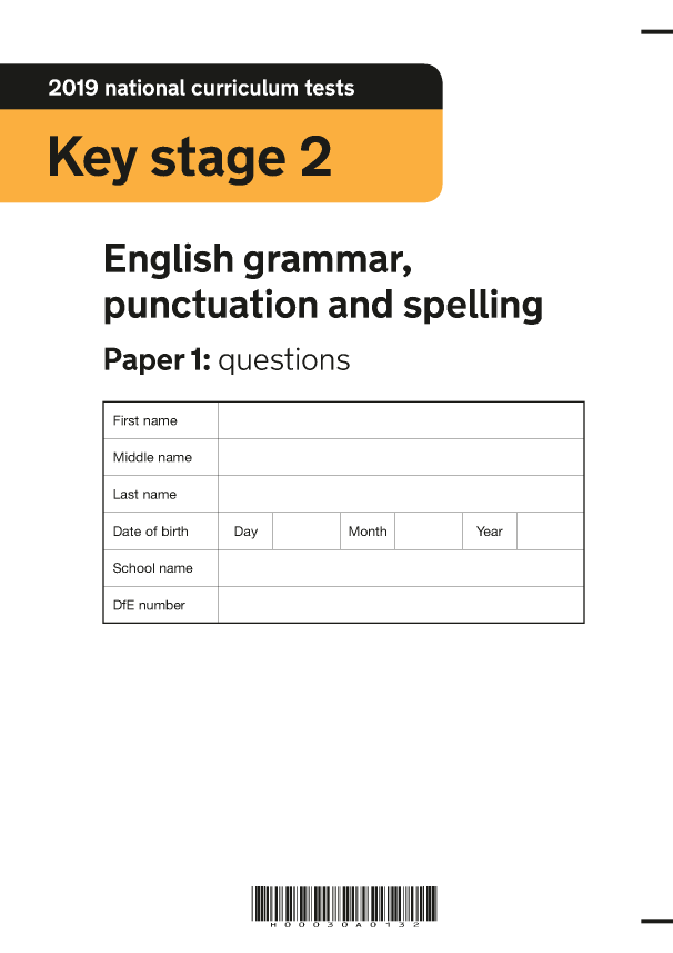 Preview of '2019 KS2 English Grammar Paper 1'