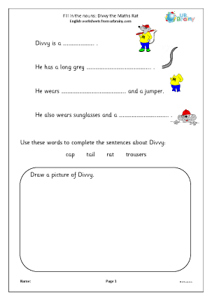 Preview of worksheet Fill in the nouns: Divvy the Maths Rat