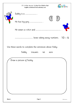 Preview of worksheet Fill in the nouns: Subby the Maths Rat