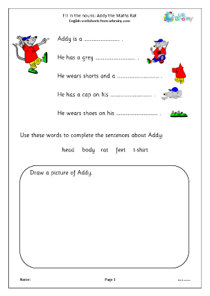 Preview of worksheet Fill in the nouns: Addy the Maths Rat