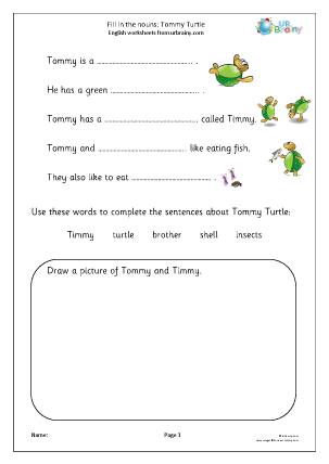Preview of worksheet Fill in the nouns: Tommy Turtle