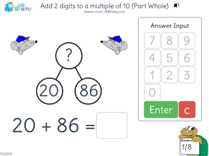 Preview of game Add 2 digits to a multiple of 10 (part-whole)