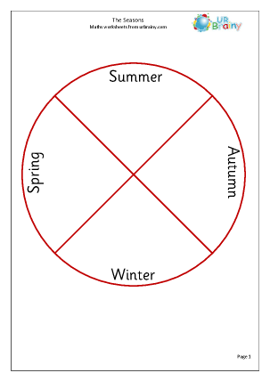 Preview of worksheet Four seasons