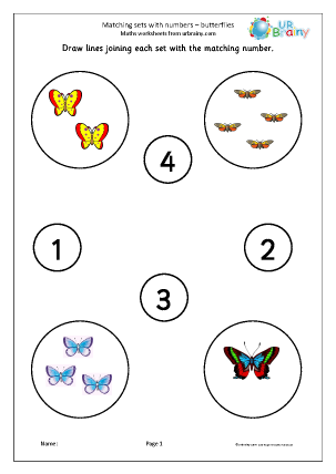 math worksheet : matching sets to numbers  butterflies counting and matching maths  : Early Maths Worksheets