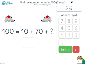 Preview of game Find the number to make 100 (timed)