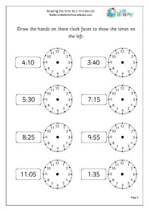 math worksheet : read the time to 5 minutes 1 time maths worksheets for year 2  : Year 7 Maths Worksheet