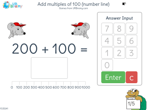 Preview of game Add multiples of 100 (number line)