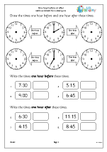 Time Maths Worksheets for Year 1 (age 5-6)