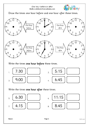 Preview of worksheet One hour before and after (1)
