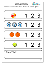 Count up to 3 objects (balls)