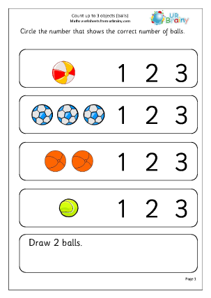 Preview of worksheet Count up to 3: balls