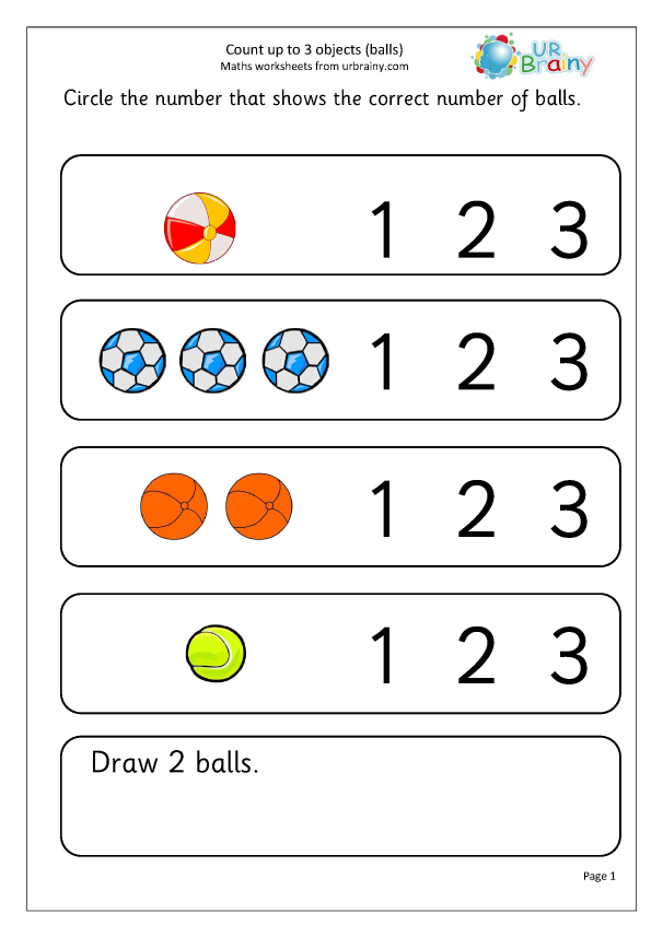 Preview of 'Count up to 3: balls'