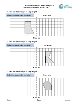 Preview of worksheet Reflect shapes in a mirror line (5P2)