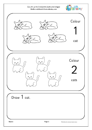 Preview of worksheet Count up to 3: cats and dogs