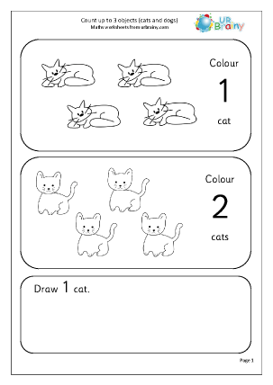 Count up to 3 (cats and dogs)