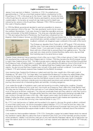 Preview of worksheet Captain Cook