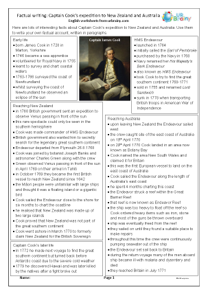 Preview of worksheet Factual writing: Captain Cook