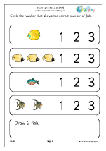 Count up to 3 objects (fish)