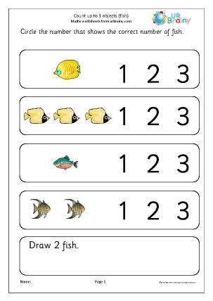 Preview of worksheet Count up to 3: more fish