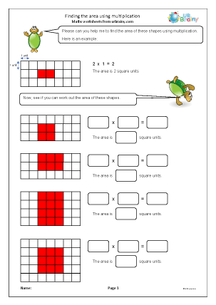 Preview of worksheet Finding the area using multiplication