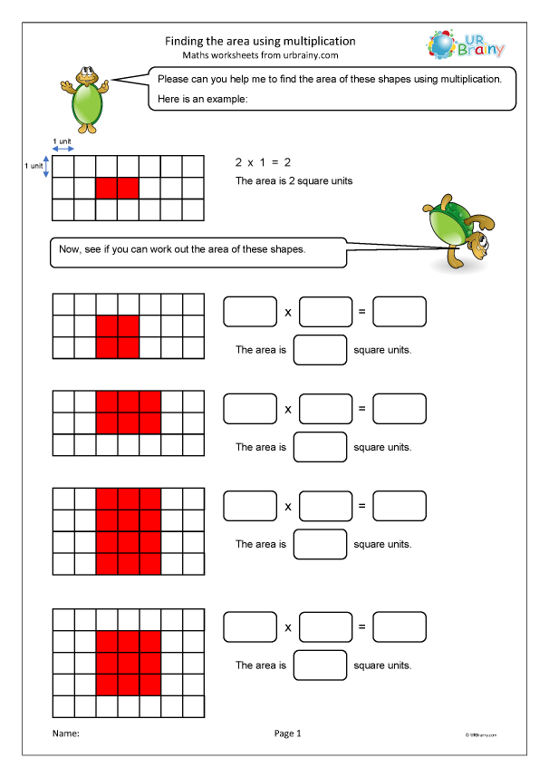 Preview of 'Finding the area using multiplication'