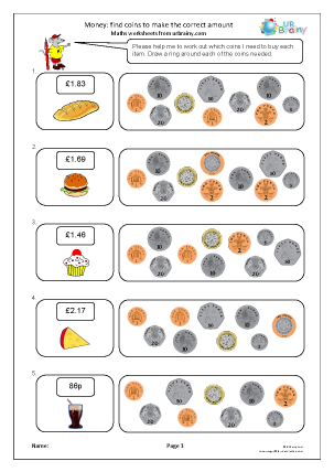 Preview of worksheet Find the correct coins