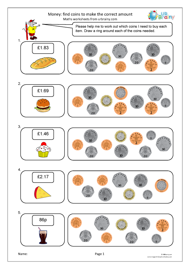 Preview of 'Find the correct coins'