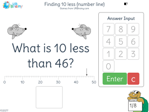Finding 10 less (number line)