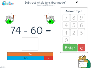 Preview of game Subtract whole tens (bar model)