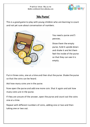 Preview of worksheet 'My purse' helps with early counting.