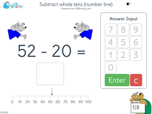 Subtract whole tens (number line)