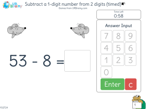Preview of game Subtract a 1-digit number from 2 digits (timed)