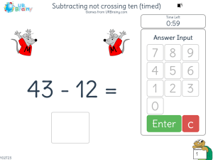 Preview of game Subtracting not crossing ten (timed)
