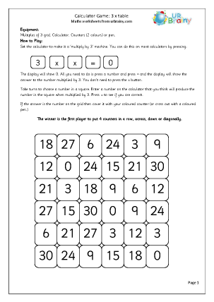 Preview of worksheet Calculator 3x table game