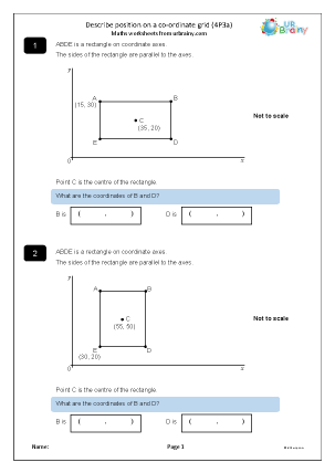 Preview of worksheet Describe position using co-ordinates (4P3a)