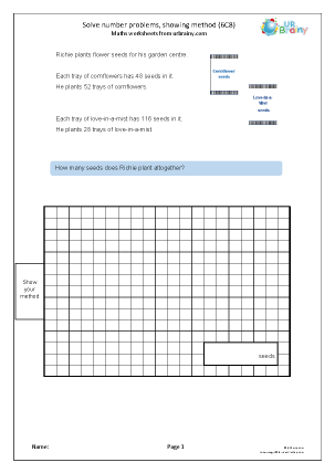 Preview of worksheet Solve problems showing the method used (6C8)