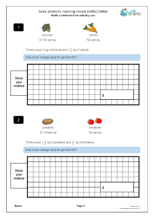 Preview of worksheet Solve money problems (5M9c)