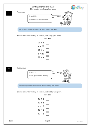 Preview of worksheet Writing expressions (6A1)