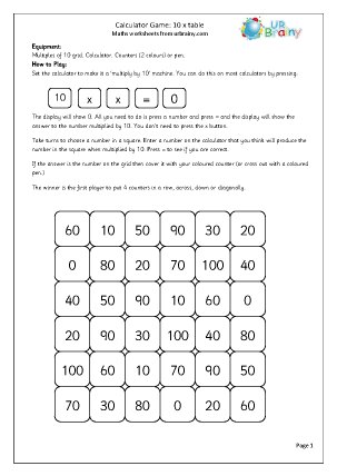 Preview of worksheet Calculator 10x table game