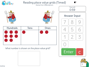 Preview of game Reading place value grids (Timed)