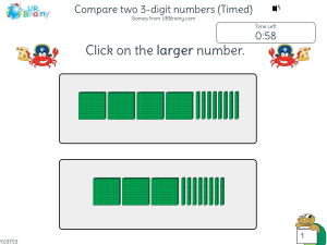 Preview of game Compare two 3-digit numbers (Timed)
